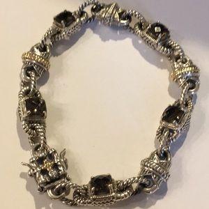 Jewelry - SS/14K Smoky Topaz Designer Look Bracelet